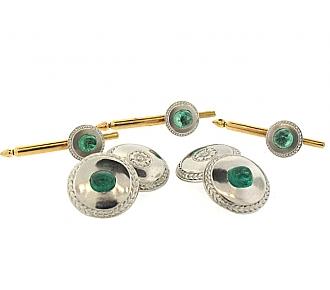 Art Deco Emerald Dress Set in Platinum