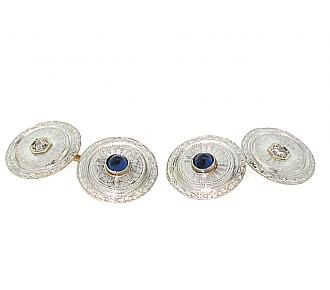 Art Deco Sapphire Cufflinks in Platinum