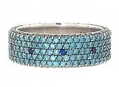 Bez Ambar Blue Diamond and Sapphire Ring in 18K