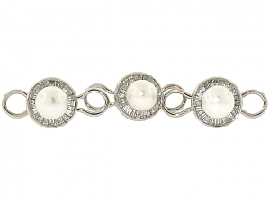 Harry Winston Diamond and Pearl Shirt Studs in 18K White Gold and Platinum