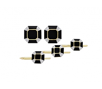 Black Onyx and Diamond Dress Set in 18K Gold