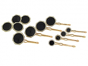 Art Deco Black Onyx Dress Set in 14K Gold
