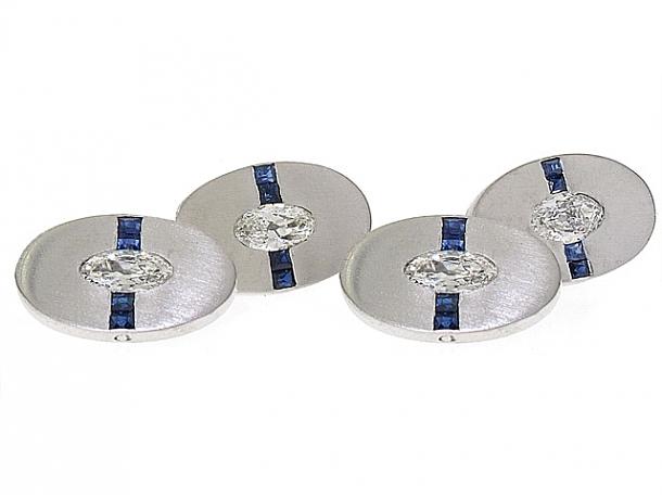 Art Deco Sapphire and Antique Marquise-cut Diamond Cufflinks in Platinum