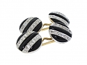 Art Deco Onyx and Diamond Cufflinks in Platinum and 14K