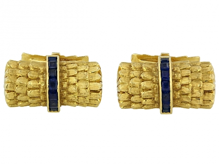 Tiffany & Co. Sapphire Bar Cufflinks in 18K