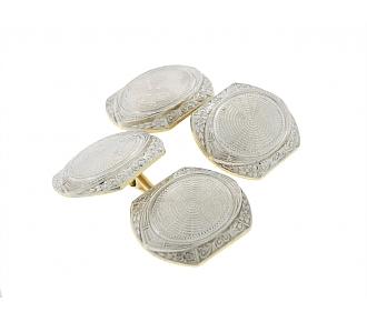 Antique Edwardian Cufflinks in Platinum and 14K