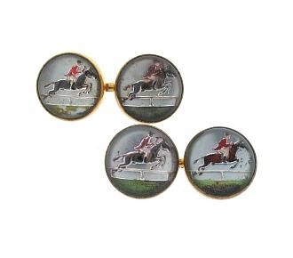Reverse Crystal Horse-Jumping Cufflinks in 14K