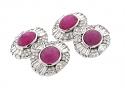 Art Deco Star Ruby and Diamond Cufflinks in Platinum