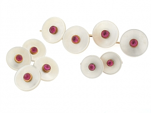 Ruby and Mother-of-Pearl Stud Set in 14K