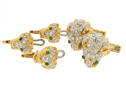 David Webb Diamond and Emerald Cufflinks and Stud Dress Set in 18K