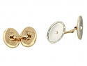 Art Deco Mother-of-Pearl and Pearl Cufflinks in Platinum and 14K