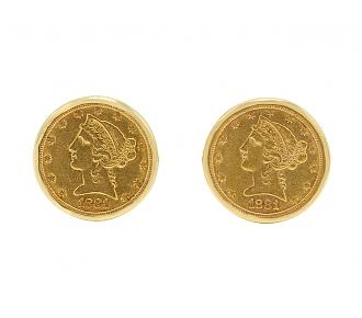 Gold Coin Cufflinks in 18K Gold