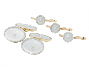 Art Deco Mother-of-Pearl Dress Set in Platinum and 14K Gold