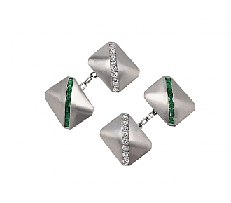 Emerald and Diamond Cufflinks in Platinum