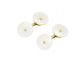 Mid-Century Mother-of-Pearl Cufflinks in 14K Gold