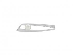 Mikimoto Pearl Tie Clip in 18K White Gold