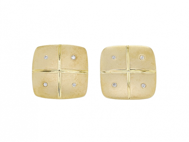 Diamond Cufflinks in 14K Gold