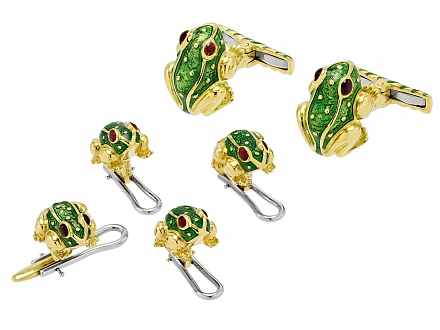 David Webb Green Enamel Frog Cufflinks and Shirt Stud Dress Set in 18K