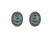 Russian Blue Enamel and Diamond Cufflinks in 14K Rose Gold