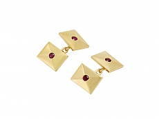 Cartier Ruby Cufflinks in 14K Gold