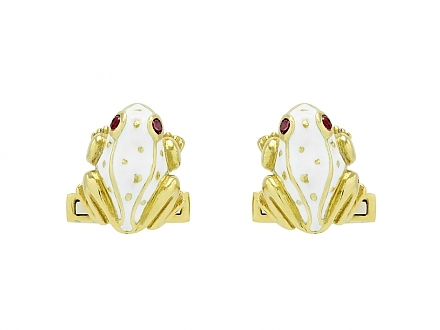 David Webb White Enamel Frog Cufflinks in 18K Gold