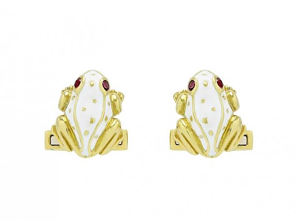 David Webb White Enamel Frog Cufflinks in 18K Gold