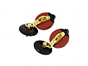Onyx and Red Enamel Cufflinks in 18K Gold