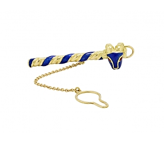 David Webb Ram's Head Enamel Tie Bar in 18K Gold