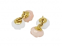 Trianon Carved White and Pink Onyx Cufflinks in 18K Gold