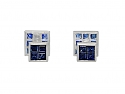 Invisibly-set Sapphire and Diamond Men's Dress Set in Platinum and 18K White Gold