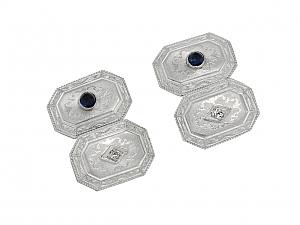 Antique Edwardian Diamond and Sapphire Cufflinks in Platinum over 14K Gold