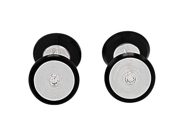 Van Cleef & Arpels Diamond and Onyx Cufflinks in 18K Gold and Platinum