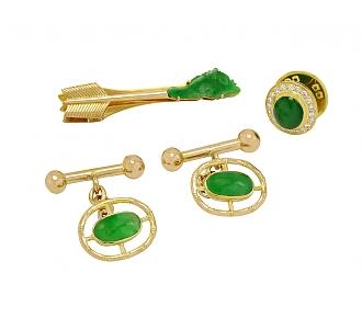 Jadeite and Diamond Cufflink, Lapel Pin and Tie Bar Set in 18K