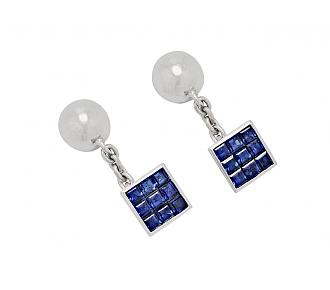 Sapphire Cufflinks in Platinum, Medium