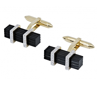 Onyx and Diamond Cufflinks in 14K Gold