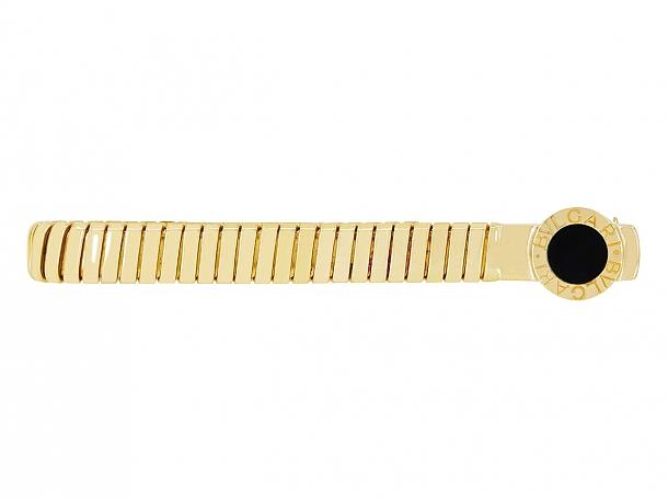 Bulgari Onyx Tie Bar in 18K Gold