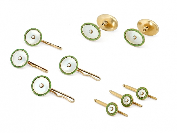 Art Deco Mother-of-Pearl and Green Enamel Dress Set in 14K Gold