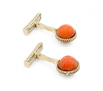 David Webb Coral Cufflinks in 18K Gold