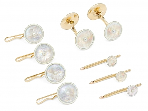 Mother-of-Pearl and White Enamel Men's Dress Set in 14K Gold