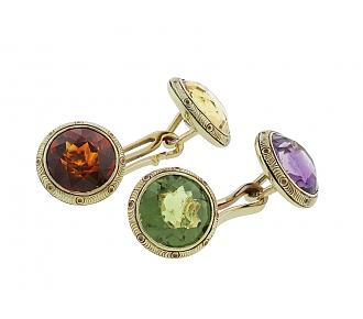 Multicolored Gemstone Cufflinks in 14K
