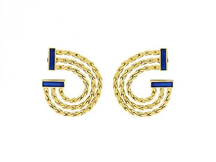Buccellati Blue Enamel Earrings in 18K Gold