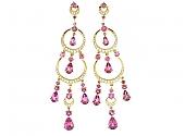 Pink Sapphire and Diamond Chandelier Earrings in 18K