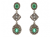 Emerald and Diamond Earrings in Silver over 18K Gold