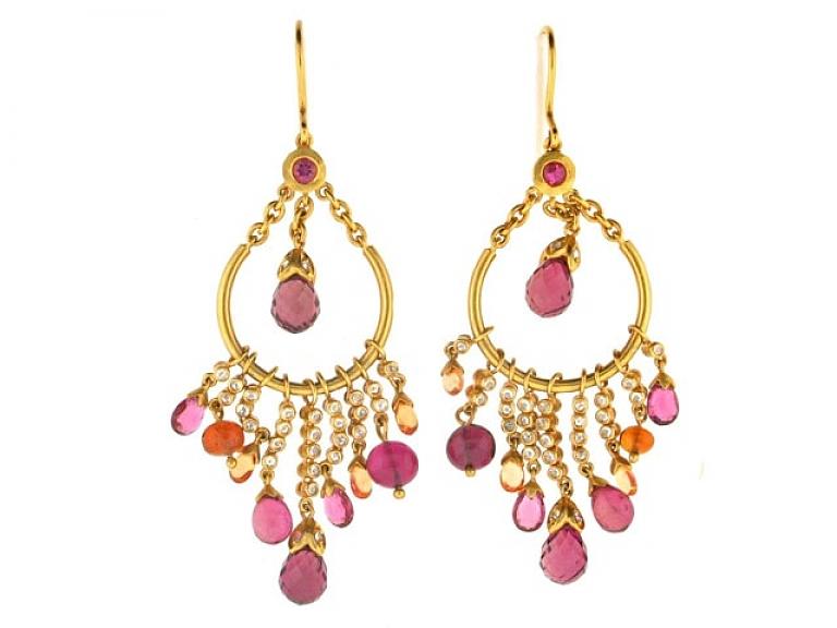 Video of Garrard 'Lotus' Diamond and Tourmaline Earrings in 18K