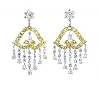 Fancy Yellow and White Diamond Chandelier Earrings in 18K Gold