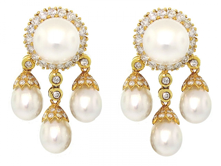 Video of South Sea Pearl and Diamond Earrings in 18K