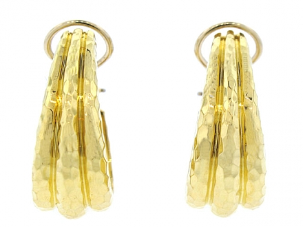 Henry Dunay Facets Hammered Gold Hoops in 18K