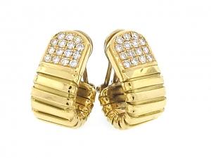 Carlo Weingrill Tubogas Hoop Earrings with Diamonds in 18K
