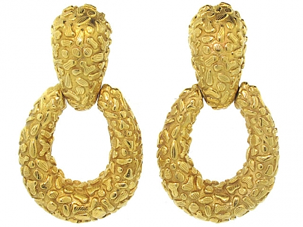 Modernist 'Door Knocker' Earrings in 18K