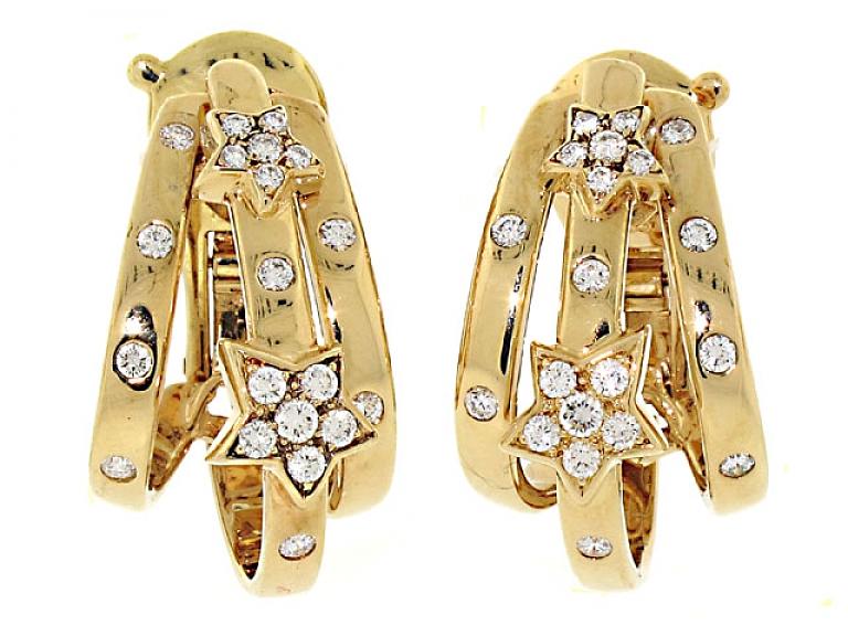 Video of Chanel Diamond Star Earrings in 18K